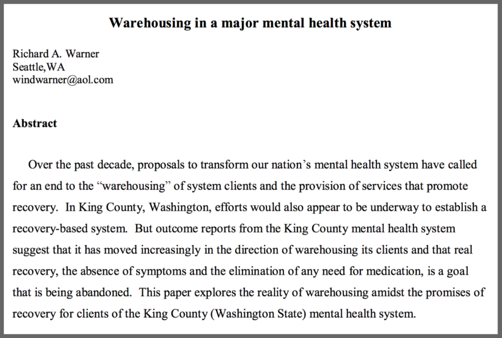 Mental Health Warehousing In King County A Guide To Alternative